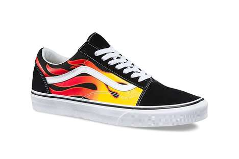 Custom Flame-Emblazoned Sneakers