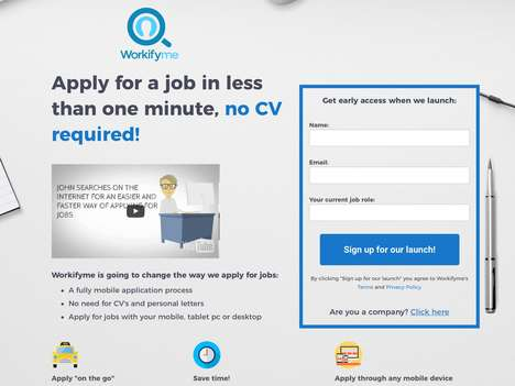 Resume-Free Job Apps - The 'Workifyme' Web App Lets Users Apply for Jobs Online without a Resume