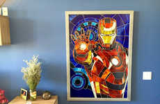 Stained Glass Superhero Art