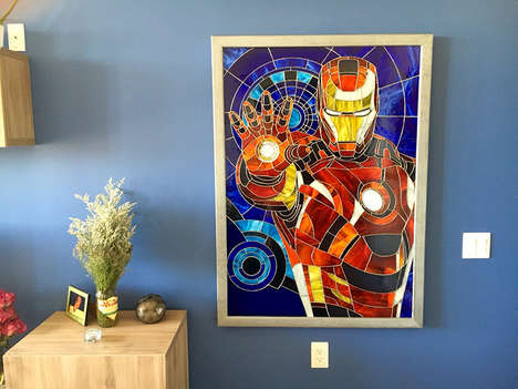 Stained Glass Superhero Art - This Intricate Stained Glass Art Features a Pop Culture Icon