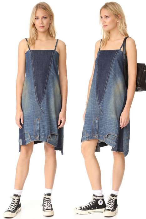 Re-Purposed Jean Dresses - The 2 Jean Dress is a Garment Sewn Together from Two Pairs of Pants