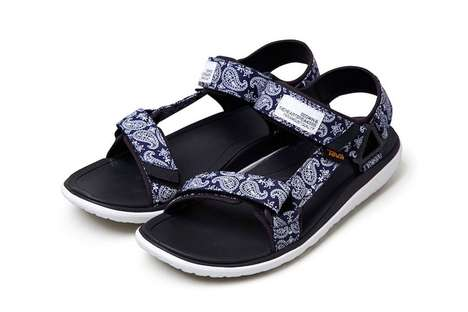 Masculine Bandanna-Print Sandals - BEDWIN & THE HEARTBREAKERS Joined with Teva for a New Design