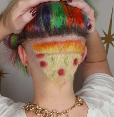 This Colorful Pizza Hair Head Shave Includes an Orange Ombre Crust