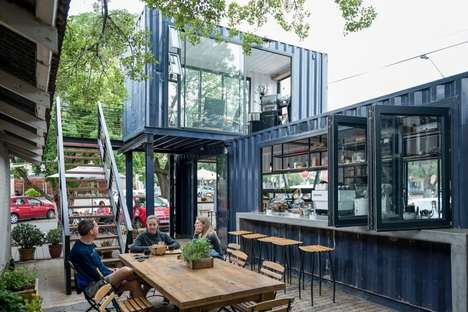 Two-Story Shipping Container Cafes - The Spout Coffee Company is Made Up of Two Shipping Containers
