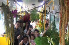 Greenery-Adorned City Buses