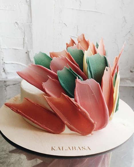Brushstroke-Themed Cake Designs