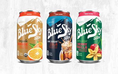 Mountainous Soda Branding - Blue Sky Sodas Are Made From All-Natural Ingredients