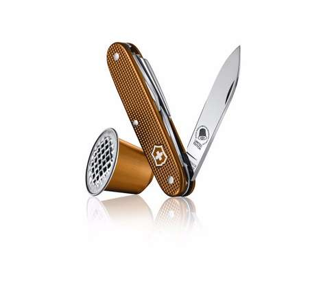 Recycled Coffee-Branded Knives - Nespresso Swiss Army Knives are Made from 24 Melted Coffee Pods