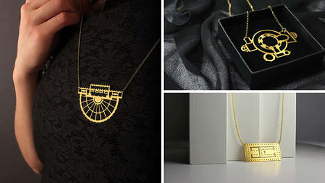 Gold Laser-Cut Jewelry - CROQUIS Jewelry Collection Was Inspired by the Floors of Famous Buildings