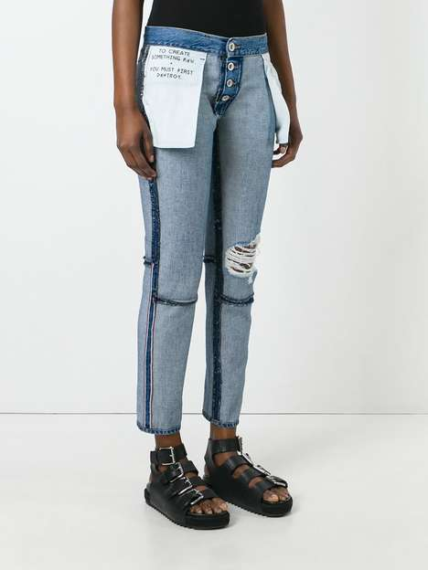 Inside-Out Denim Trousers - Unravel Project's Inside Out Jeans Reveal Exposed Seams and Raw Details