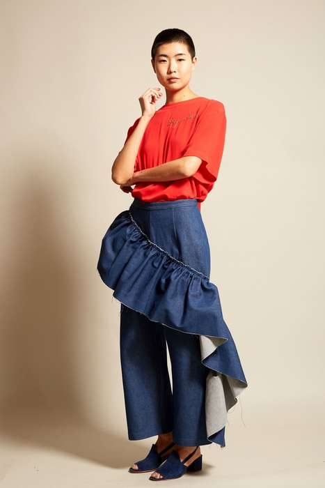 Ruffled Denim Slacks - Collina Strada's Gauley Ruffle Pant Brings a New Softness to Jeans