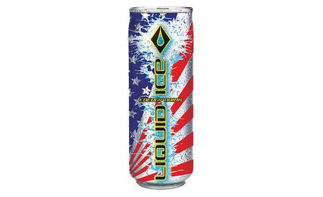 Patriotic American Energy Drinks - The Liquid Ice America Energy Drink Celebrates the US