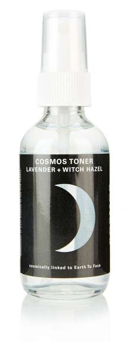 Cosmic Skincare Branding - Cosmos' Toners, Face Oils and Face Wash Bottles Depict the Moon and Sun