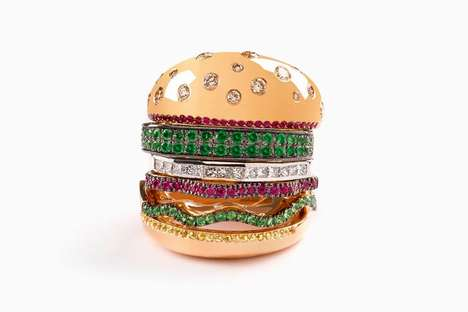 Luxury Burger-Shaped Rings - Nadine Ghosn's Ring Comes in the Shape of a Veggie Burger