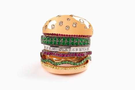 Luxury Burger-Shaped Rings