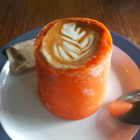 Produce-Based Coffee Cups - The Locals Corner Cafe Serves Coffee Beverages in Carrot and Apple Cups
