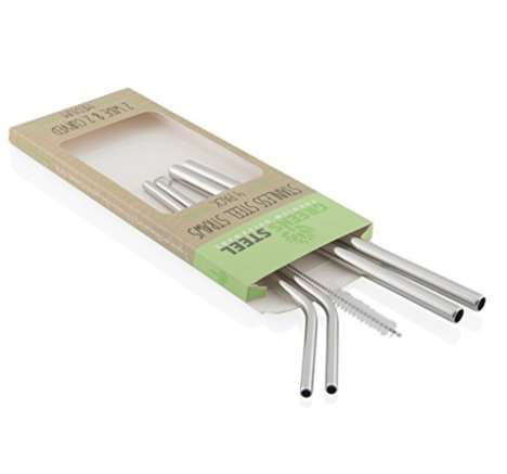 Reusable Steel Straws - These Stainless Steel Straws Come With a Special Cleaning Brush