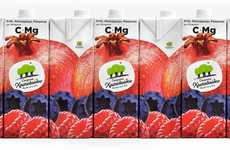 Interconnecting Juice Packaging - The Vitamin Juices Branding Creates a Statement with Ingredients