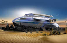 Desert Landscape Vehicles - The Muadib Desert Transportation Vehicle Traverses Arid Locations