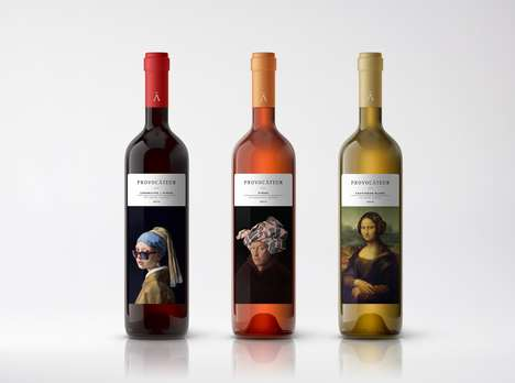 Remixed Artwork Wine Branding - The PROVOCATEUR Wine Series Plays with Famous Works of Art