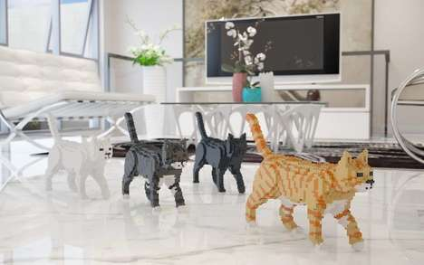 Toy Brick Pet Art - These Jekca Cat Sculptures Let You Build Your Own Calico