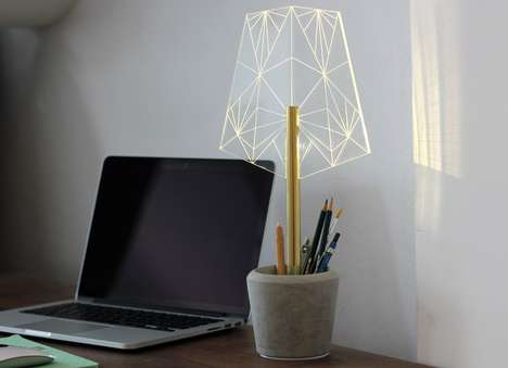 Delicate Wired Lamps - This Wired Desk Lamp Doubles as a Pen Holder and Doesn't Require Light Bulbs