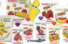 Friendly Produce Snack Packaging - The Googly Fruit Organic Snacks Have a Charming Branding Design