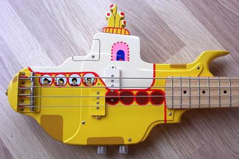 Band-Inspired Bass Guitars - The Hand Painted Yellow Submarine Guitar Pays Homage to the Beatles
