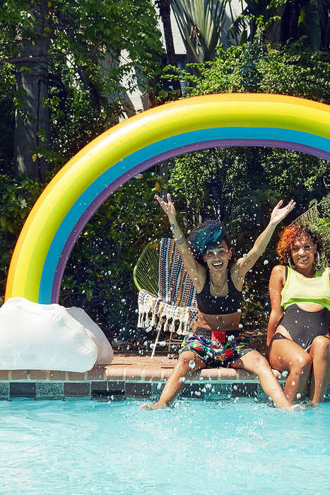 Rainbow Pool Floats - This Floating Rainbow Features Six Cup Holders
