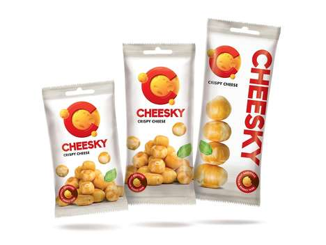 Lunar Cheese Snack Branding - The Cheesky Crispy Cheese Snack Packaging Correlates to the Moon
