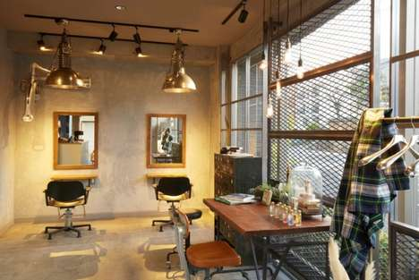 Industrial Tokyo Salons - Luck Out Hair Salon is a Space Inspired by the Experience of Brooklyn