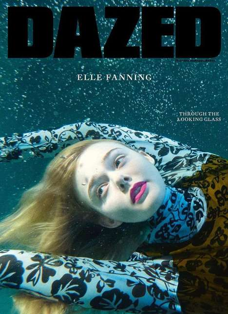 Submerged Starlet Photography - The Elle Fanning Dazed Cover Story Highlights Pieces from Kenzo