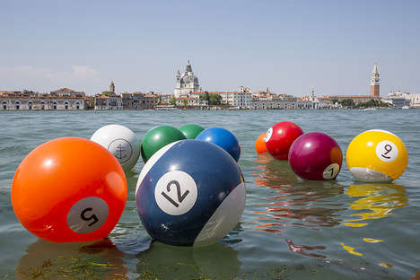 Playful Floating Installations - 'River Pool' Decorates a Venetian Lagoon with Inflatable Pool Balls