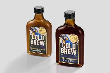 Alcohol Flask Coffee Packaging - The Grounds Cold Brew Coffee Packaging is Classically Premium
