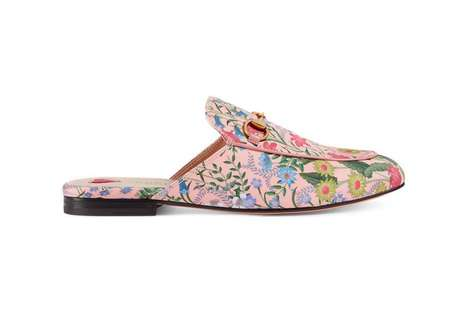 Elegant Floral Slip-Ons - These New Gucci Slip-Ons Feature Beautiful Flower Blossoms