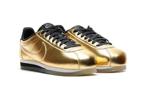Sleek Metallic Gold Sneakers