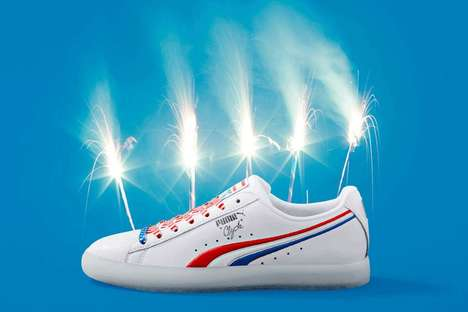 Patriotic Leather Basketball Shoes - The New PUMA Clyde Shoe Comes in a Patriotic Design