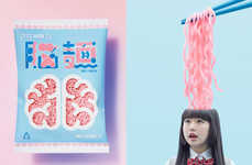 "Cranium-Inspired Noodle Branding - No-Men Brands Its Pink-Colored Noodles as ""Brain Noodles"""