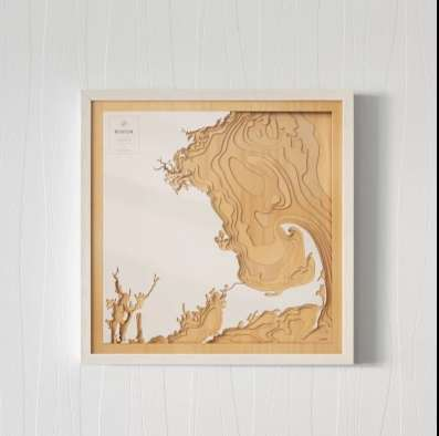 Coastal Topography Maps - These Maps are Cut from Wood and Visualize the Topography of Coastlines