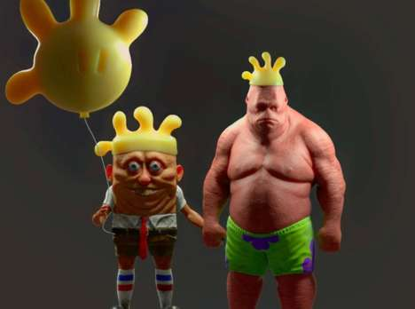 Humanoid 3D Cartoon Adaptations - Miguel Vasquez Created Eerie 3D SpongeBob and Patrick Renditions