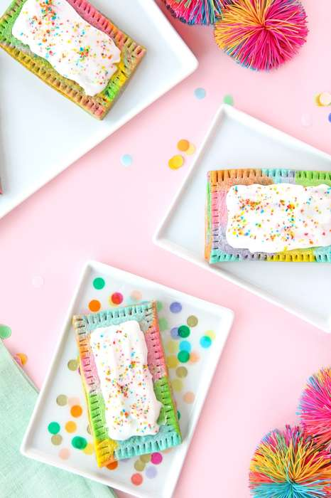 Rainbow Marble Pasteries - This Recipe for Rainbow Pop Tarts From Aww Sam Looks Scrumptious