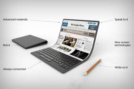 Bendable Anniversary Laptops - This Lenovo Thinkpad Concept Does Away with Hinges