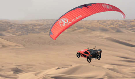 Channel-Crossing Flying Cars - Vaylon's Car That Can Fly Utilizes Stealthy Paragliding Gear