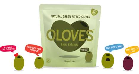Single-Serve Olive Pouches - Oloves' Pitted, Seasoned Olive Snacks are Packaged in Portable Bags