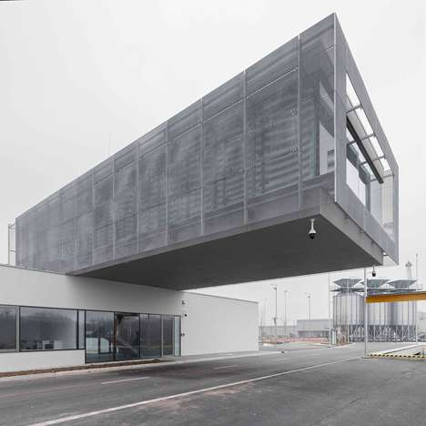 Cantilevered Road-Spanning Buildings - sporaarchitects' Port Building Has an Aggressive Design