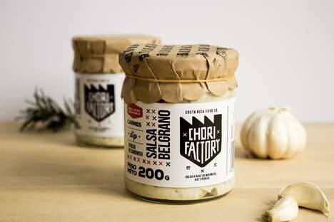 Homespun Condiment Branding - The Chorifactory Salsa Packaging Merges Rustic and Modern Aesthetics