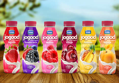 Ingredient-Inspired Yogurt Packaging - The Imlek Jogood Fruit Yogurt Packaging Highlights Freshness