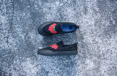 Rose-Embroidered Skate Shoes