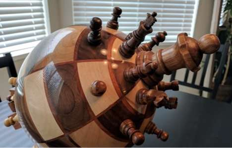 Globe-Shaped Chess Sets - This Hand-Made Spherical Chess Board By Ben Meyers Took Five Weeks to Make