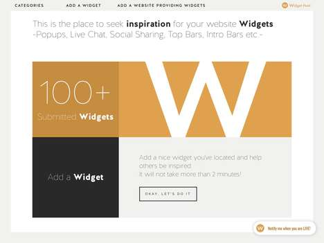 Widget Inspiration Communities - Widget Hunt Provides Inspiration for the Design of Website Widgets